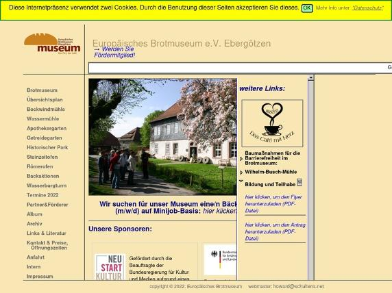 Screenshot von http://www.brotmuseum.de/